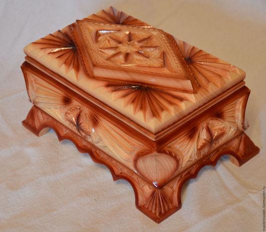 Шкатулки ручной работы. Ярмарка Мастеров - ручная работа. Купить Шкатулка деревянная резная. Handmade. Бежевый, интерьер, бархат