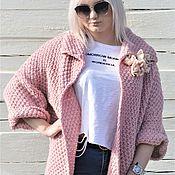 "Одежда handmade. Livemaster - original item Жакет оверсайз вязаный,крупная вязка ""Розовая пудра"". Handmade."
