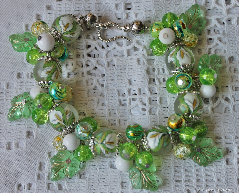Bracelet with Japanese tensha beads, agate, green Calla quartz, Bead bracelet, Krasnoyarsk,  Фото №1
