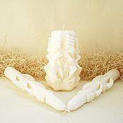 Свадебный салон ручной работы. Ярмарка Мастеров - ручная работа Свадебные свечи в наборе - семейный очаг - айвори - резные свечи. Handmade.