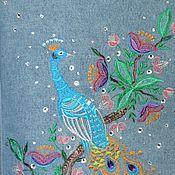 Куртки ручной работы. Ярмарка Мастеров - ручная работа Джинсовая куртка «Павлин на ветке». Handmade.