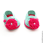 Работы для детей, handmade. Livemaster - original item knitted booties for girls with Swarovski crystals, mint. Handmade.