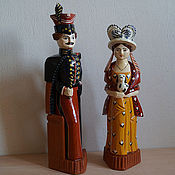 Русский стиль handmade. Livemaster - original item Toy-sculpture from wood hussars and the lady with the dog. Handmade.