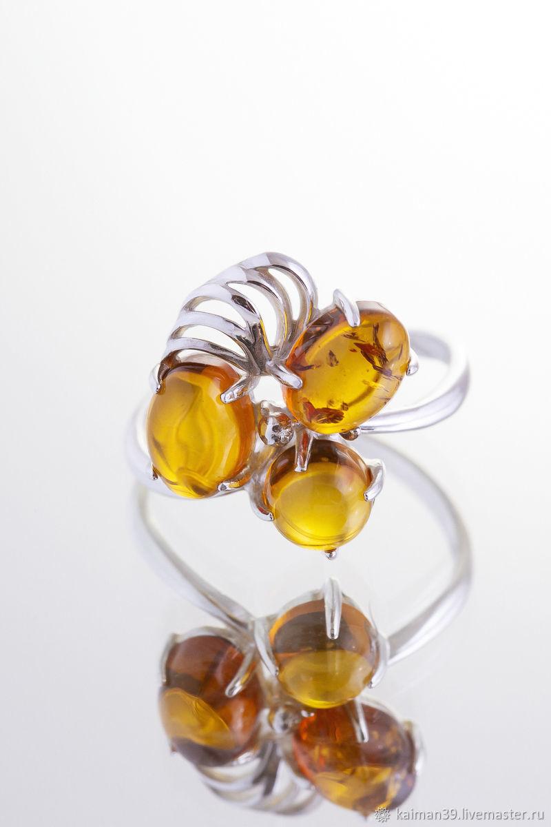 Нежное кольцо из серебра и натурального балтийского янтаря, Кольца, Калининград,  Фото №1