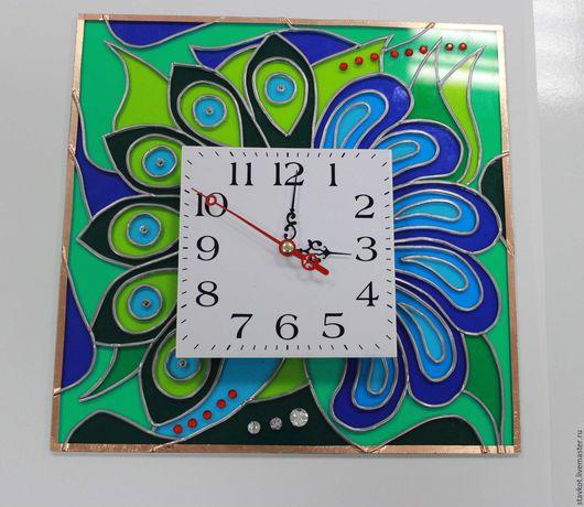 Часы для дома ручной работы. Ярмарка Мастеров - ручная работа. Купить Павлинье дерево. Handmade. Зеленый, часы, синий