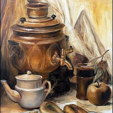 Русский стиль ручной работы. Ярмарка Мастеров - ручная работа Масляная живопись картина живая - Русский чай. Handmade.