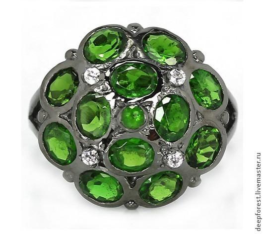 """Кольца ручной работы. Ярмарка Мастеров - ручная работа. Купить Кольцо с хромдиопсидом """"Сибирлит"""". Handmade. Зеленый, хромдиопсид, якутский изумруд"""