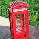 Освещение ручной работы. Ярмарка Мастеров - ручная работа. Купить Светильник Лондонская телефонная будка Telephone Booth. Handmade. Красный