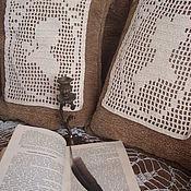 Для дома и интерьера ручной работы. Ярмарка Мастеров - ручная работа Парные вязаные вставки - виньетки на подушку  Былое и думы. Handmade.