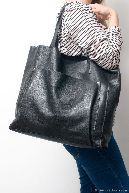 Shopper bag with pocket, genuine leather, genuine suede, Shopper, Stavropol,  Фото №1