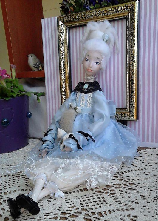 Коллекционные куклы ручной работы. Ярмарка Мастеров - ручная работа. Купить Будуарная кукла Маргарита. Handmade. Голубой, подарочная кукла