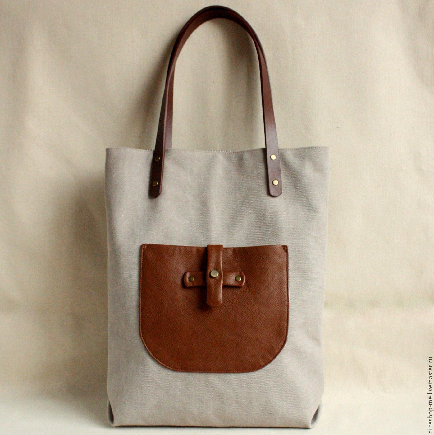 Ecru color bag made of soft thick cotton canvas, Classic Bag, Moscow,  Фото №1