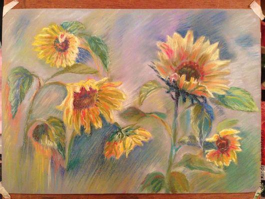 Картины цветов ручной работы. Ярмарка Мастеров - ручная работа. Купить Подсолнухи. Handmade. Разноцветный, цветы, пастель, подсолнухи