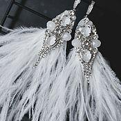 Украшения handmade. Livemaster - original item Wedding earrings with white feathers and Swarovski crystals. Handmade.
