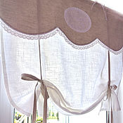 Для дома и интерьера handmade. Livemaster - original item Linen curtains for kitchen drawstring style Provence grey. Handmade.