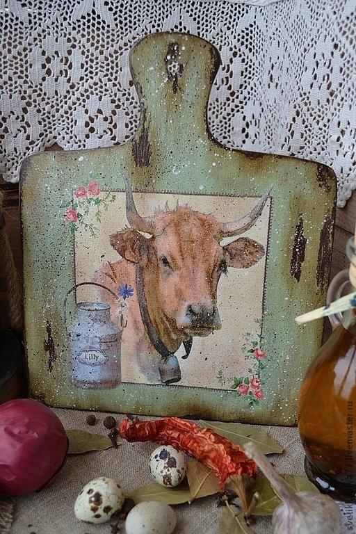 """Кухня ручной работы. Ярмарка Мастеров - ручная работа. Купить Доска разделочная """"Бурёнка"""". Handmade. Доска, корова, дерево"""
