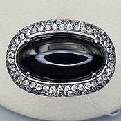 Украшения handmade. Livemaster - original item Silver ring with black onyx 24h12 mm and cubic zirconia. Handmade.