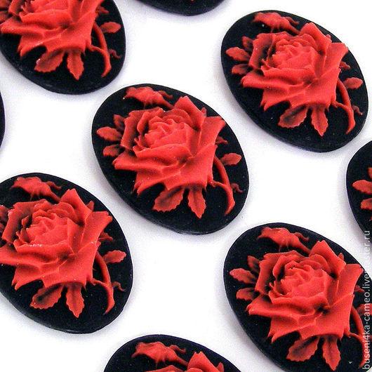 Для украшений ручной работы. Ярмарка Мастеров - ручная работа. Купить Камея Красная роза 18х25мм (пластик) 1шт.. Handmade.