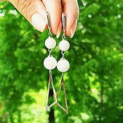 Украшения handmade. Livemaster - original item White Agate Earrings/ Long Earrings /White Prom Earrings. Handmade.
