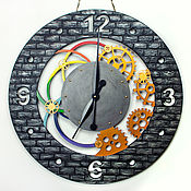 Для дома и интерьера handmade. Livemaster - original item Multi-colored large 60cm wall clock. loft style. Handmade.