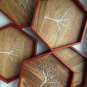 Для дома и интерьера ручной работы. Ярмарка Мастеров - ручная работа Шестигранный поднос с деревцем. Handmade.