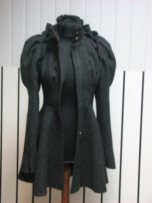 Outer Clothing handmade. Livemaster - handmade. Buy Fancy short coat.Coat, dark gray, silk