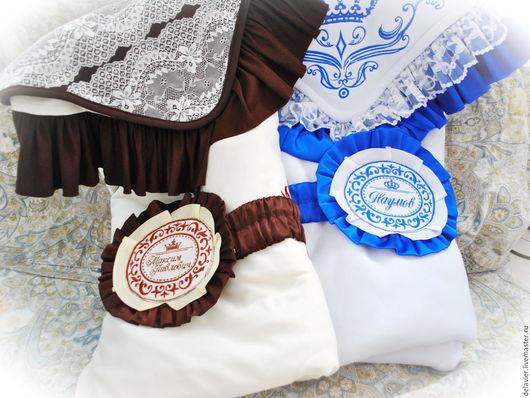 """Для новорожденных, ручной работы. Ярмарка Мастеров - ручная работа. Купить Ленты с застежкой """"Именные"""" для одеял на выписку. Handmade. Комбинированный"""