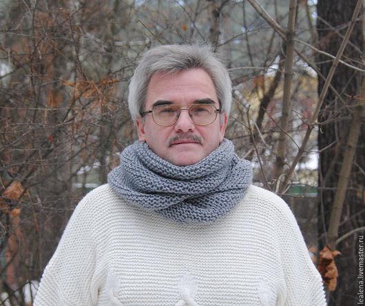 """Шарфы и шарфики ручной работы. Ярмарка Мастеров - ручная работа. Купить Мужской шарф-снуд серый меланж """"Пепел"""" (полушерсть). Handmade."""