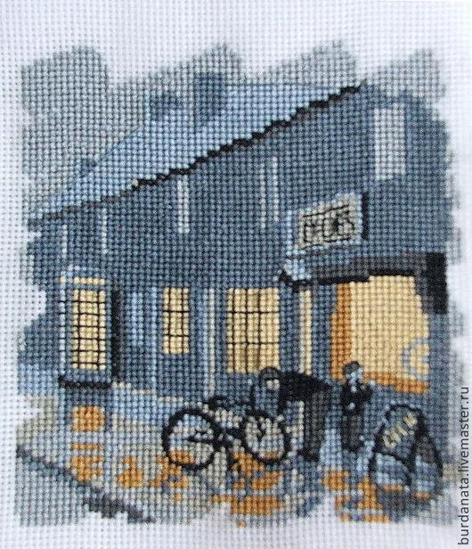 Город ручной работы. Ярмарка Мастеров - ручная работа. Купить Магазин велосипедов. Handmade. Дождик, городской пейзаж, магазин, велосипед