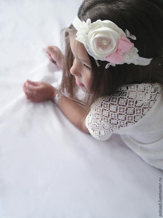 """Детская бижутерия ручной работы. Ярмарка Мастеров - ручная работа. Купить Повязка для волос """"Нежный сахар"""". Handmade. Бежевый, малышка"""