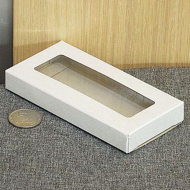Материалы для творчества ручной работы. Ярмарка Мастеров - ручная работа 12,5х6х1,5 - развертки коробки с окном сквозным белые, 50 штук. Handmade.