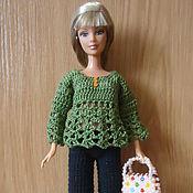 Куклы и игрушки ручной работы. Ярмарка Мастеров - ручная работа Зеленая ажурная кофточка. Handmade.