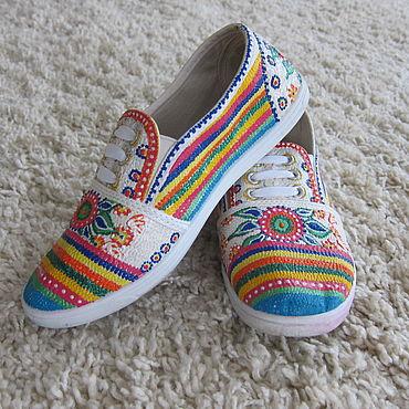 Обувь ручной работы. Ярмарка Мастеров - ручная работа Кеды: Лето яркое.. Handmade.