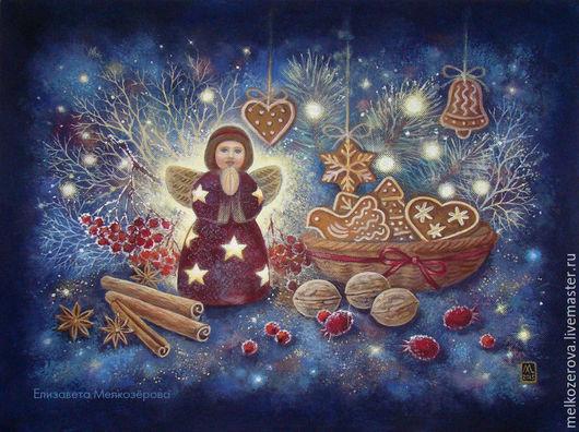 """Новый год 2017 ручной работы. Ярмарка Мастеров - ручная работа. Купить Картина """"Волшебная ночь"""". Handmade. Тёмно-синий, ангел"""