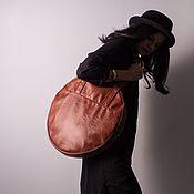 Классическая сумка ручной работы. Ярмарка Мастеров - ручная работа Женская сумка рыжего цвета Small Circle большая круглая сумка. Handmade.