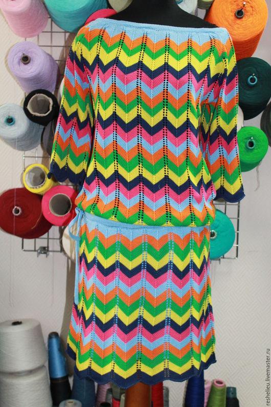 Платья ручной работы. Ярмарка Мастеров - ручная работа. Купить Платье вязаное №36 из 100% хлопка. Handmade. Комбинированный