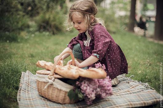 Одежда для девочек, ручной работы. Ярмарка Мастеров - ручная работа. Купить туника в горошек. Handmade. Брусничный, платье для девочки, хлопок