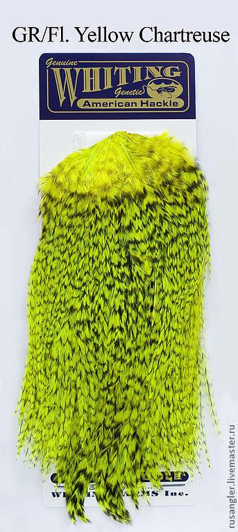 Другие виды рукоделия ручной работы. Ярмарка Мастеров - ручная работа. Купить Перья American Rooster Saddle GR/ Fl. Yellow Chartreuse (41802144). Handmade.
