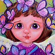 Картины и панно handmade. Livemaster - original item Angel with butterfly oil. Handmade.