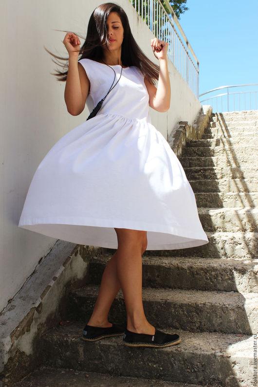 """Платья ручной работы. Ярмарка Мастеров - ручная работа. Купить Льняное Платье """"White Crush"""" D0037. Handmade. Стильное платье"""