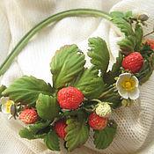Украшения handmade. Livemaster - original item Jewelry made of leather.Headband RED STRAWBERRY. Handmade.