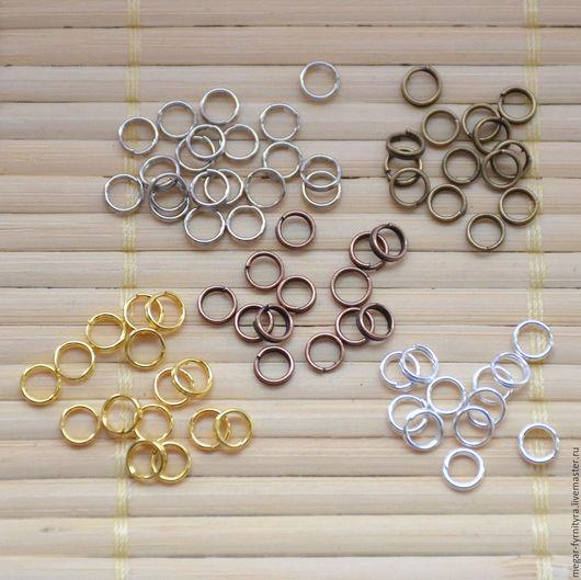 Для украшений ручной работы. Ярмарка Мастеров - ручная работа. Купить 50 шт. Двойные колечки 5 мм. Handmade.