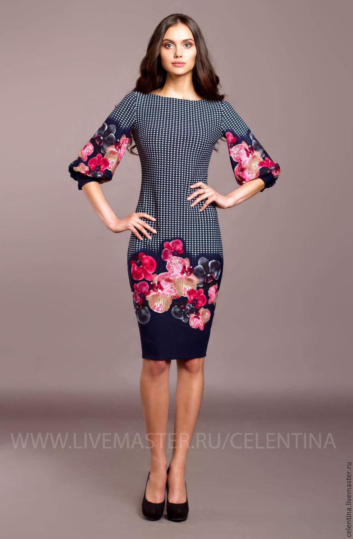 648aed6c29b Темно синее цветочное платье футляр. Нарядное весеннее платье ...