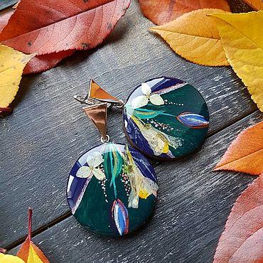 Украшения ручной работы. Ярмарка Мастеров - ручная работа Серьги: Серьги с настоящими цветами. Handmade.