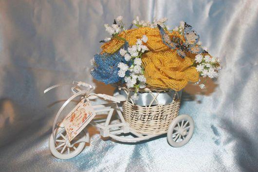 """Подарки на свадьбу ручной работы. Ярмарка Мастеров - ручная работа. Купить Композиция велосипед """"Желтые розы"""". Handmade. Корзинка с цветами"""
