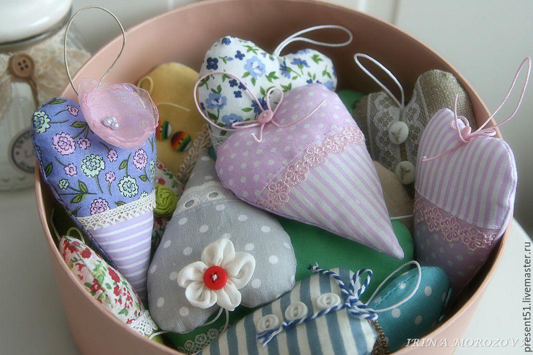 Текстильные интерьерные сердечки ручной работы # 2, Мягкие игрушки, Мурманск,  Фото №1