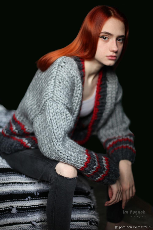 Красный серый. Кардиган. Крупная вязка, Кардиганы, Волгоград, Фото №1