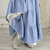 Одежда handmade. Livemaster - original item Linen skirt with a belt corset cornflower blue. Handmade.