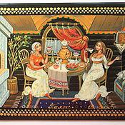 """Русский стиль ручной работы. Ярмарка Мастеров - ручная работа лаковая шкатулка с авторской росписью """"Вечерние посиделки"""". Handmade."""