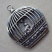 Материалы для творчества ручной работы. Ярмарка Мастеров - ручная работа Клетка с птичкой. Подвеска 3D для кулона, колье, брелока на сумку. Handmade.